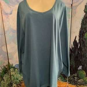 Woman Within Teal Cotton V-Neck Tunic Top